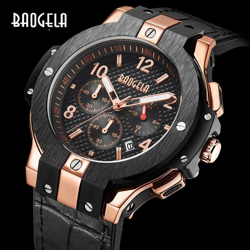 montre BAOGELA marque hommes montre Quartz montre или bande de caoutchouc 3ATM résistant à l'eau chronographe hommes Quartz 1909