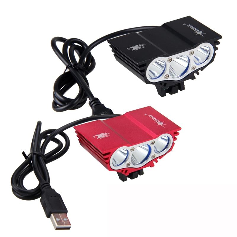 Водонепроницаемый 3XT6 светодиодный велосипедный светильник 10000лм передний велосипедный головной светильник лампа для ночного велоспорта 5 в USB фара только лампа без батареи