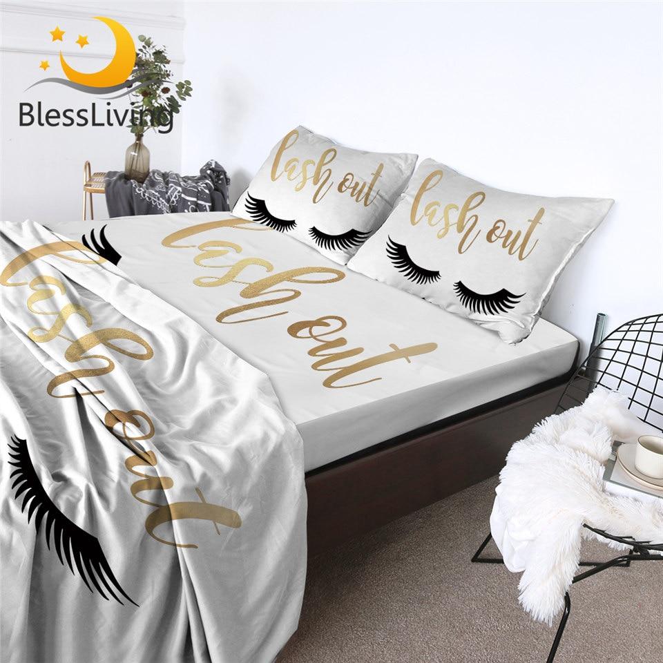 Blesslife-طقم ملاءة سرير ، 4 قطع ، لون ذهبي وأسود ، ملاءة رمش رائعة ، أغطية سرير للبنات