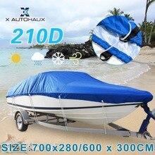 X autohaux 540/570/700x280/300 cm 210d trailerable 보트 커버 방수 낚시 스키베이스 스피드 보트 v 자형 블루 보트 커버