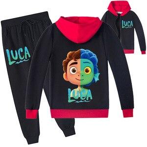 2-16Y Kids Cartoon Luca Clothing Suit Children's Girl Zipper Jacket + Trousers Set Baby Boys Hooded Cardigan Jackets Sweatpants