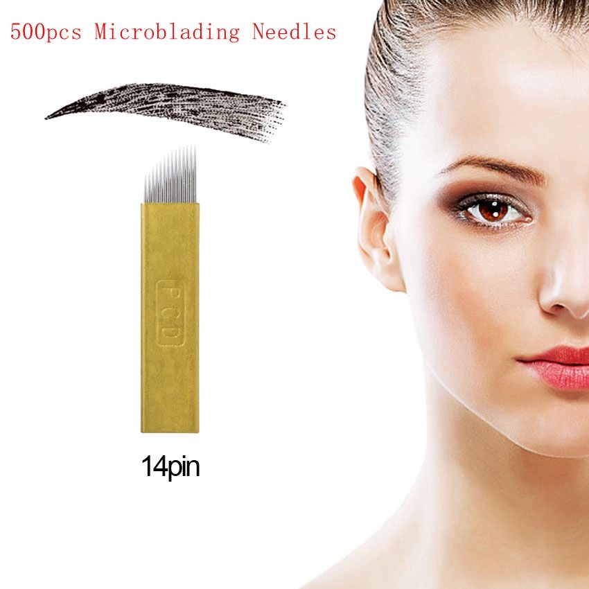 Tattoo Needles 500pcs Hard Pcd 14P Needles Microblading Needles Permanent Makeup Blades Manual Eyebrow Tattoo Curved Blade wholesale curved needles birch quality tying quilts 2 5inch