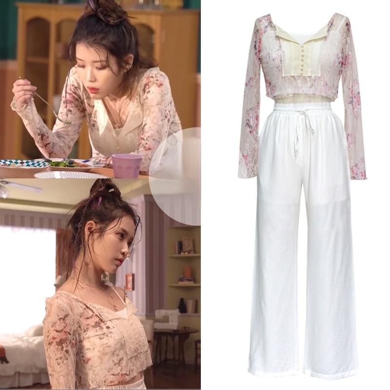 Kpop IU Lee Ji Eun صيف جديد قصير مثير الدانتيل منظور بلوزات الأزهار قميص أبيض فضفاض الرباط واسعة الساق السراويل النساء مجموعات