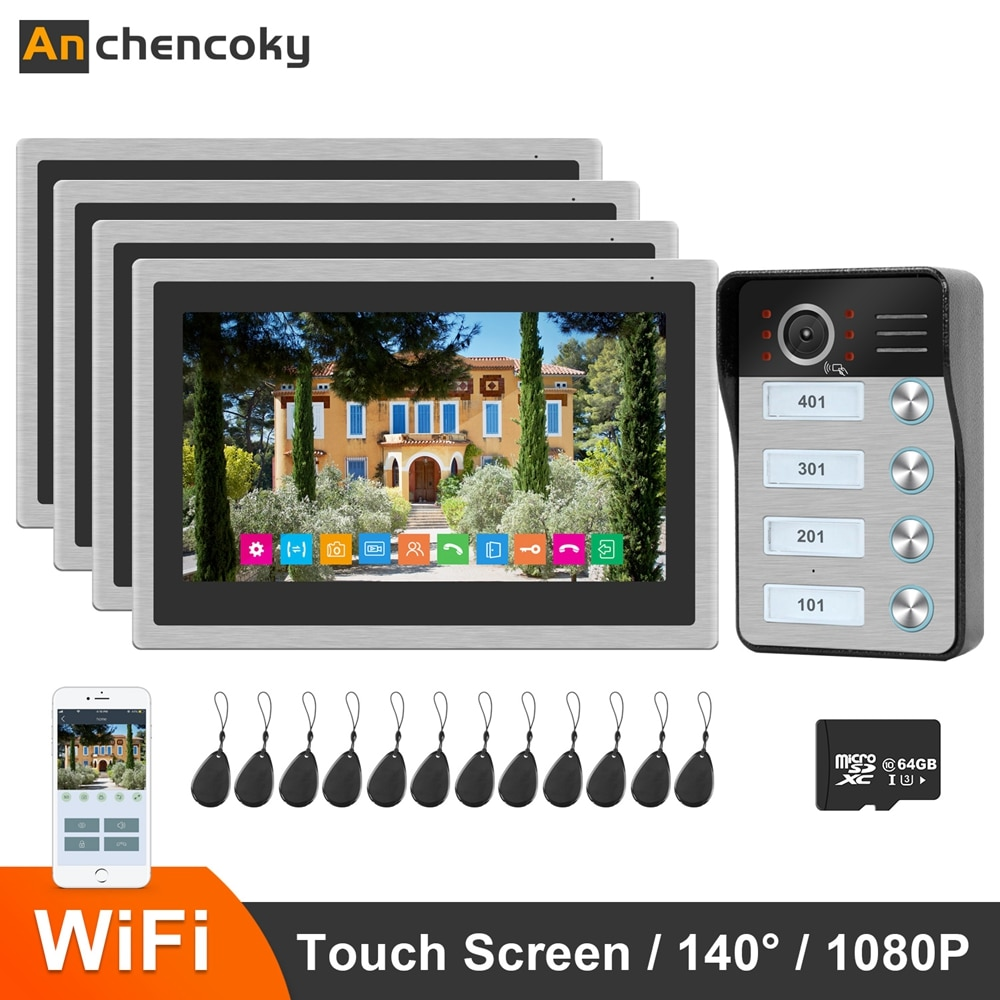 Anchencoky WiFi Video Intercom Doorbell 10 inch IP Wireless Monitor x4 1080P Video Doorbell Support ID Card Home Intercom System