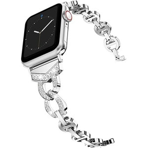 Diamond Stainless Steel Strap For Apple Watch 4 3 band 42mm 38mm Women's Jewelry Bracelet For iWatch Bands SE 6 5 40mm 44mm Belt