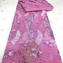 African Sequins Lace Baby pink Fabrics 2020 High Quality Embroidered 3d Sequin Nigerian Tulle Lace F