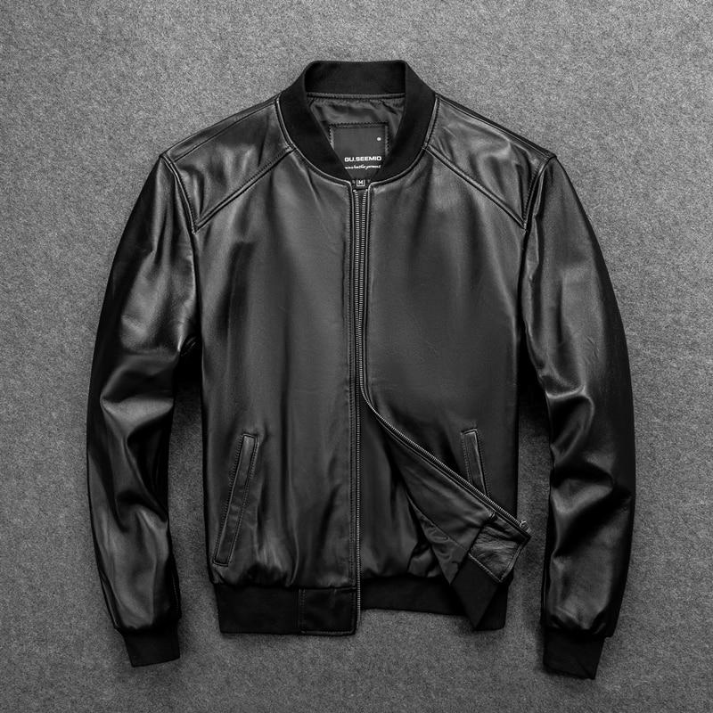 GU.SEEMIO-سترة جلدية أصلية للرجال ، معطف من جلد الغنم ، ملابس خارجية ذات نوعية جيدة ، سترة بيسبول ، حيوان أصلي 100%