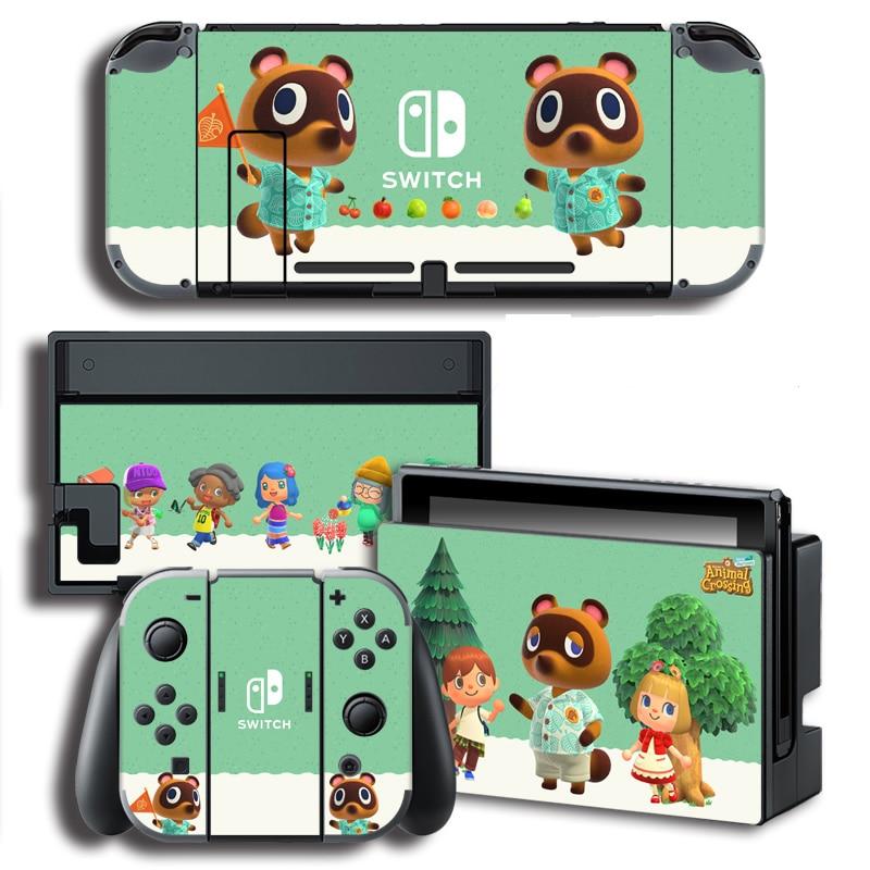 Pegatinas protectoras de cruce de animales para pantallas de vinilo para consola Nintendo Switch NS + controlador + soporte Joy-con Skins