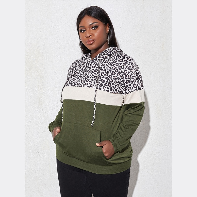 Fioncrow Plus Size Leopard Print Sweater Women Loose Outer Wear Hooded New Color-Blocking Pullover Sweater For Fall/Winter 2021