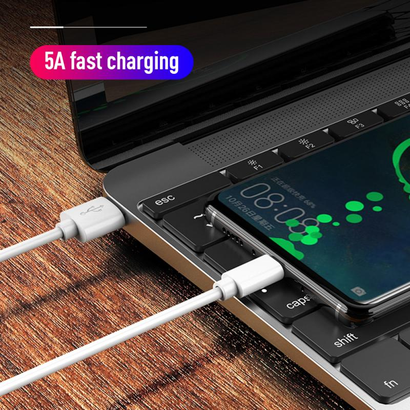 Super Fast Charge 5A USB Type C Cable For Huawei P30 Pro Xiaomi Mobile Phone Charging Wire White Blc