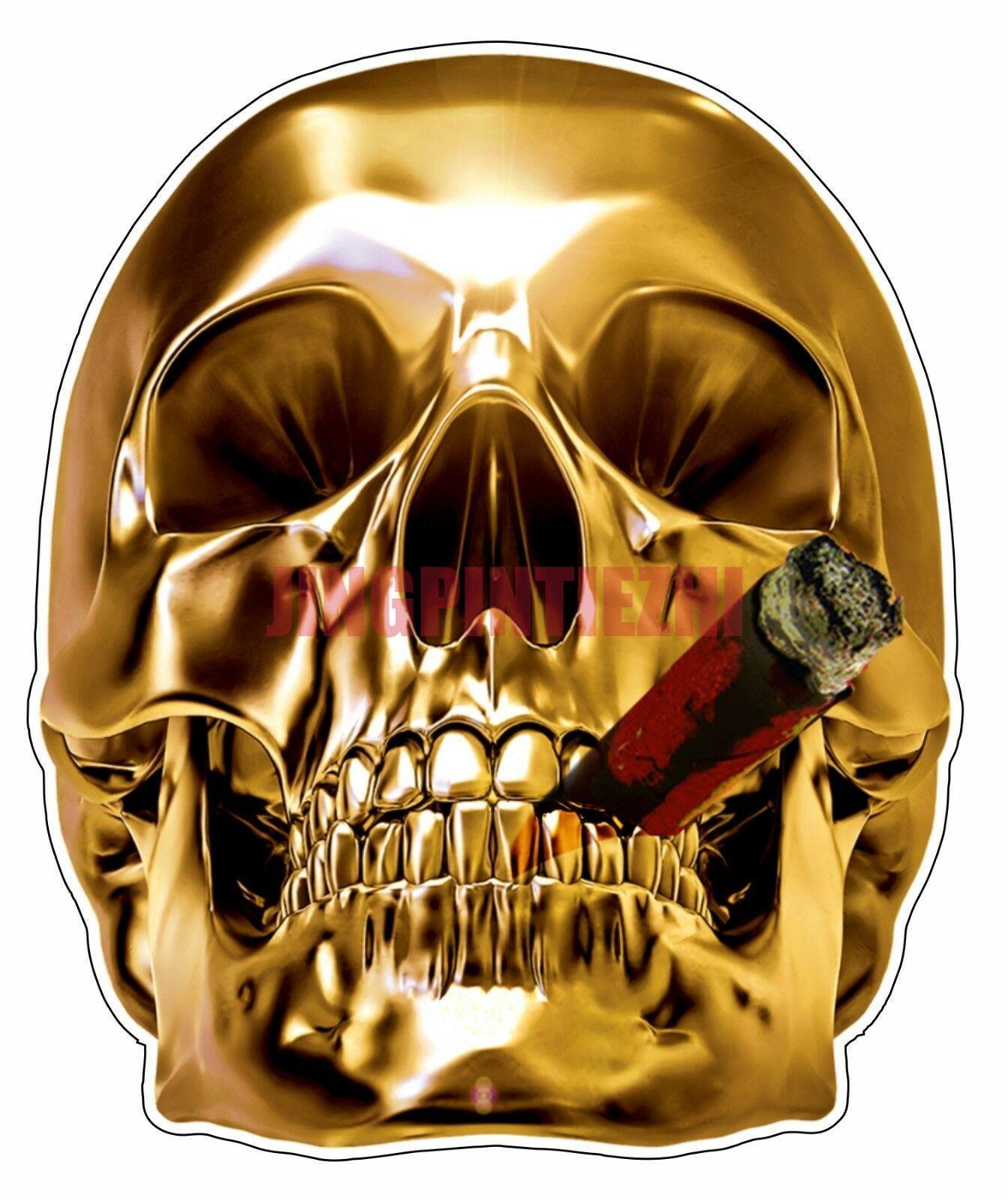 Мультяшная Автомобильная наклейка, золотой череп, курительная сигара, бампер, наклейка, Виниловая наклейка, автомобильная наклейка, украше...