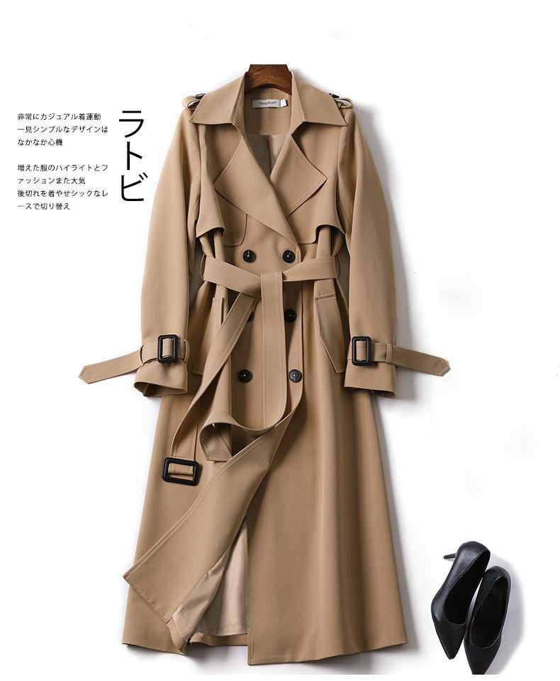 الخريف المرأة عادية الصلبة خندق معطف مكتب الكورية الدافئة أنيقة مربوط معاطف خمر سترة واقية حجم كبير جواكت شتوية