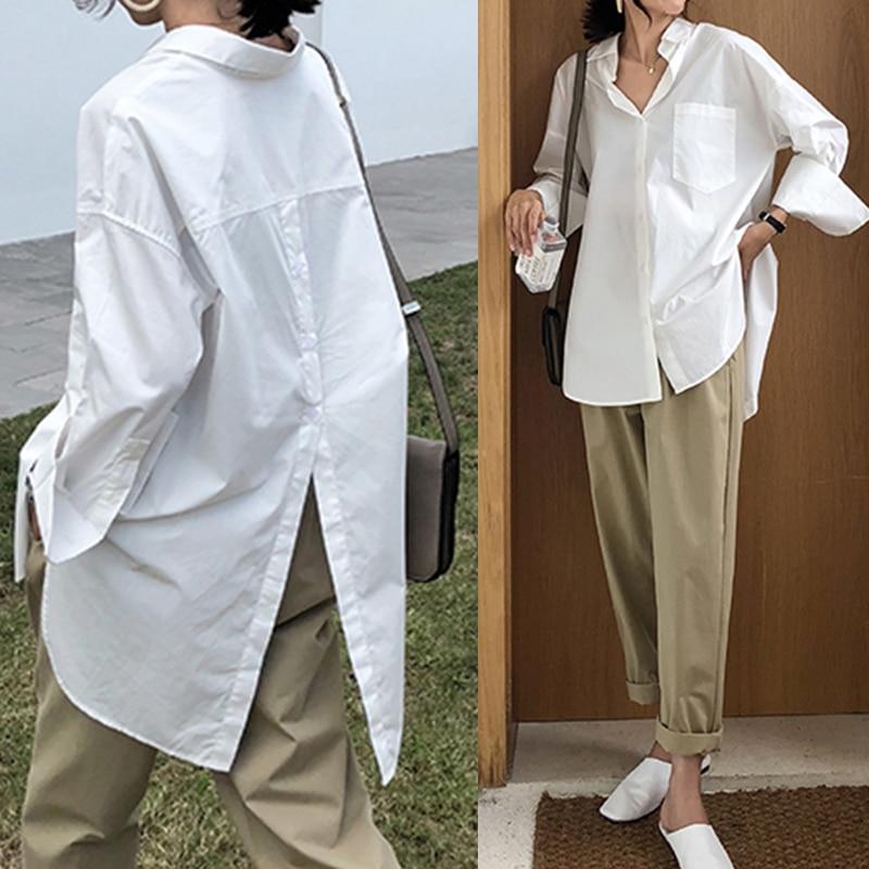 Celmia Women White Shirt 2021 Oversized Shirts Fashion Lapel Casual Solid Long Sleeve Buttons Asymmetrical Top Autumn Blusas 5XL