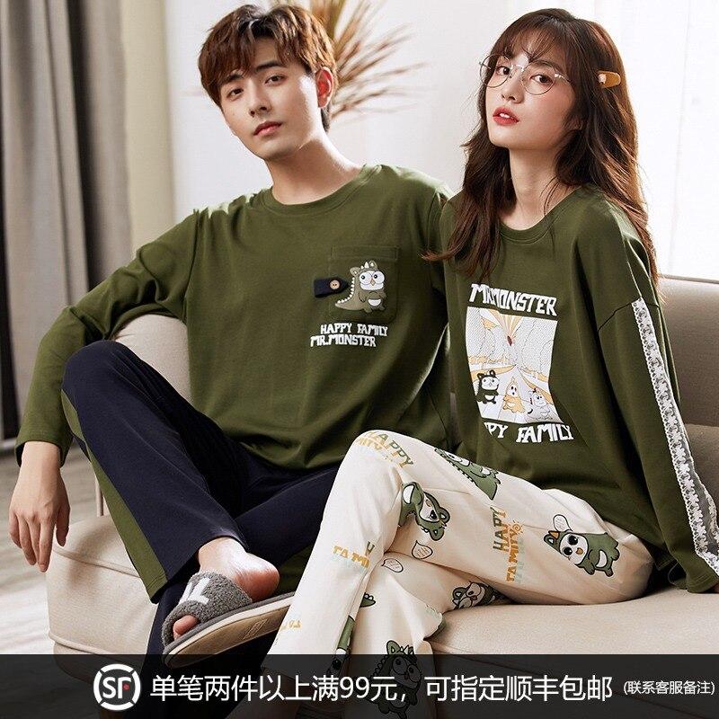 زوجين منامة طويلة الأكمام القطن رقيقة الربيع والخريف الكورية نمط الرجال المنزل ارتداء المرأة لطيف القطن دعوى GLQ