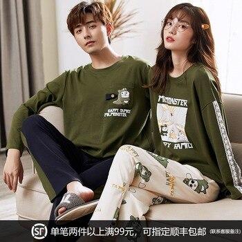 Couple Pajamas Long Sleeve Cotton Thin Spring and Autumn Korean Style Men's Home Wear Women's Cute Cotton Suit GLQ