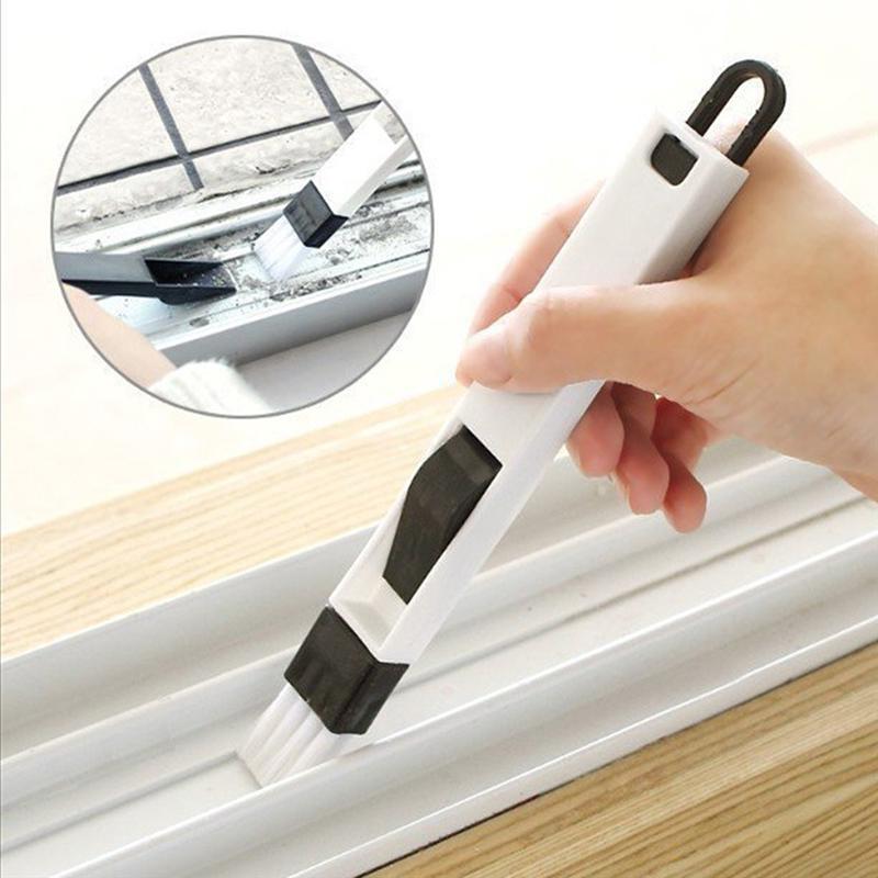 Minicepillo de limpieza 2 en 1 con recogedor desmontable para ranuras del teclado y esquinas, cepillo de cocina, suministros de limpieza