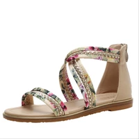 ladies sandals summer flat fairy style 2021 new floral cloth word with non slip roman shoes