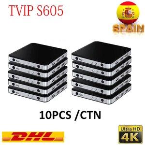10PCS/Lot Linux Android tv box TVIP 605 4K 2.4G/5G WiFi S905X Smart Linux box Tvip Box tvip605 Dual System v.605 H2.65 ip Tv box