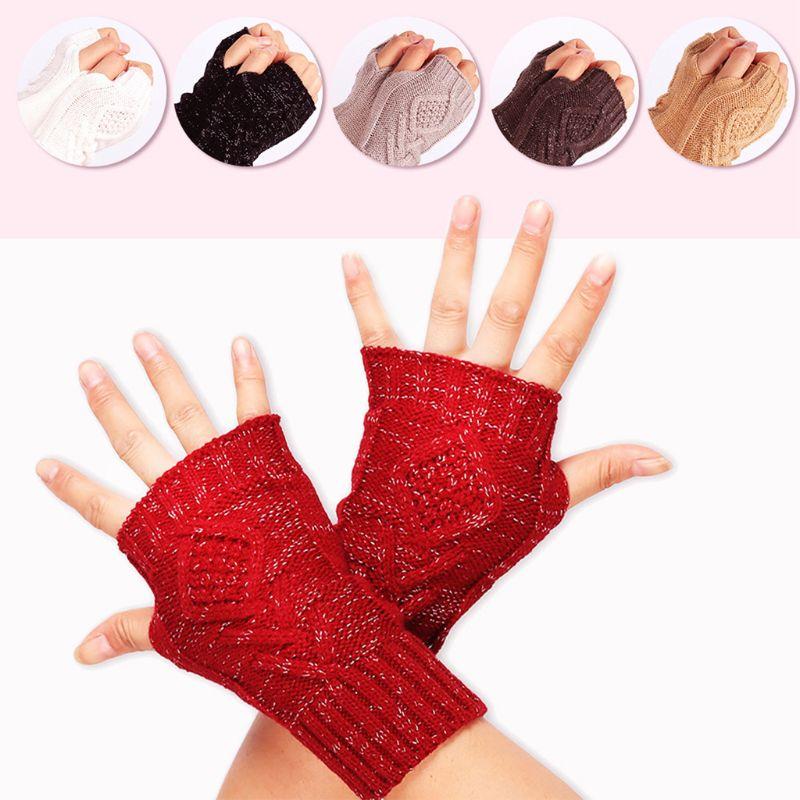 Female Winter Half Finger Computer Gloves Women Wild Knit Touch Screen Warm Fingerless Glove
