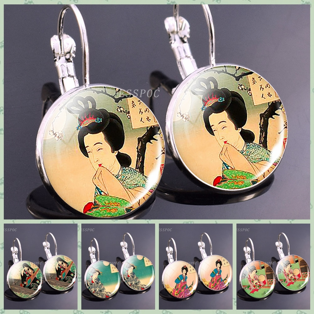 Japan Traditional Culture Picture Earrings Woman Wearing Kimono Gentle Eyes Fadhion Earrings for Women Girl Party Vacation Gift