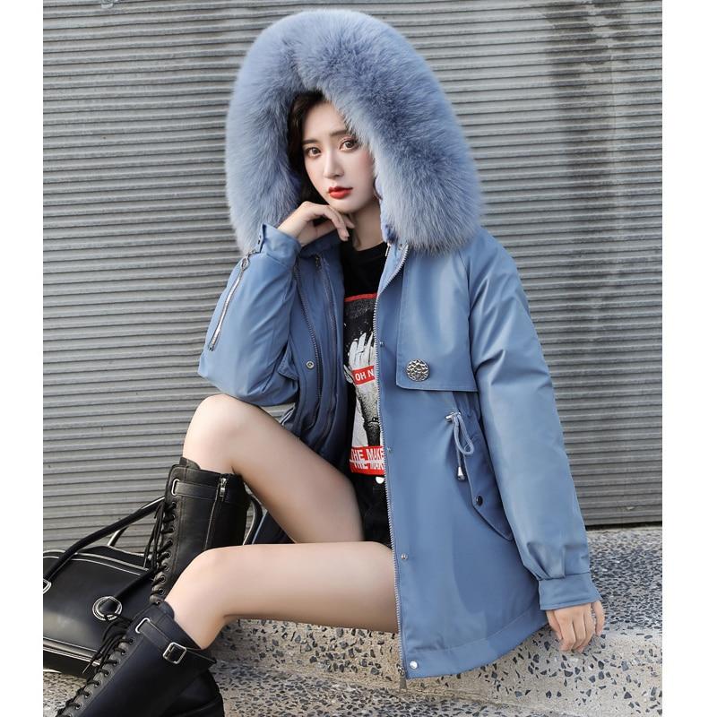 куртка зимняя женская Женская парка с капюшоном и меховой подкладкой, теплая хлопковая парка с капюшоном, Повседневная зимняя одежда, 2021