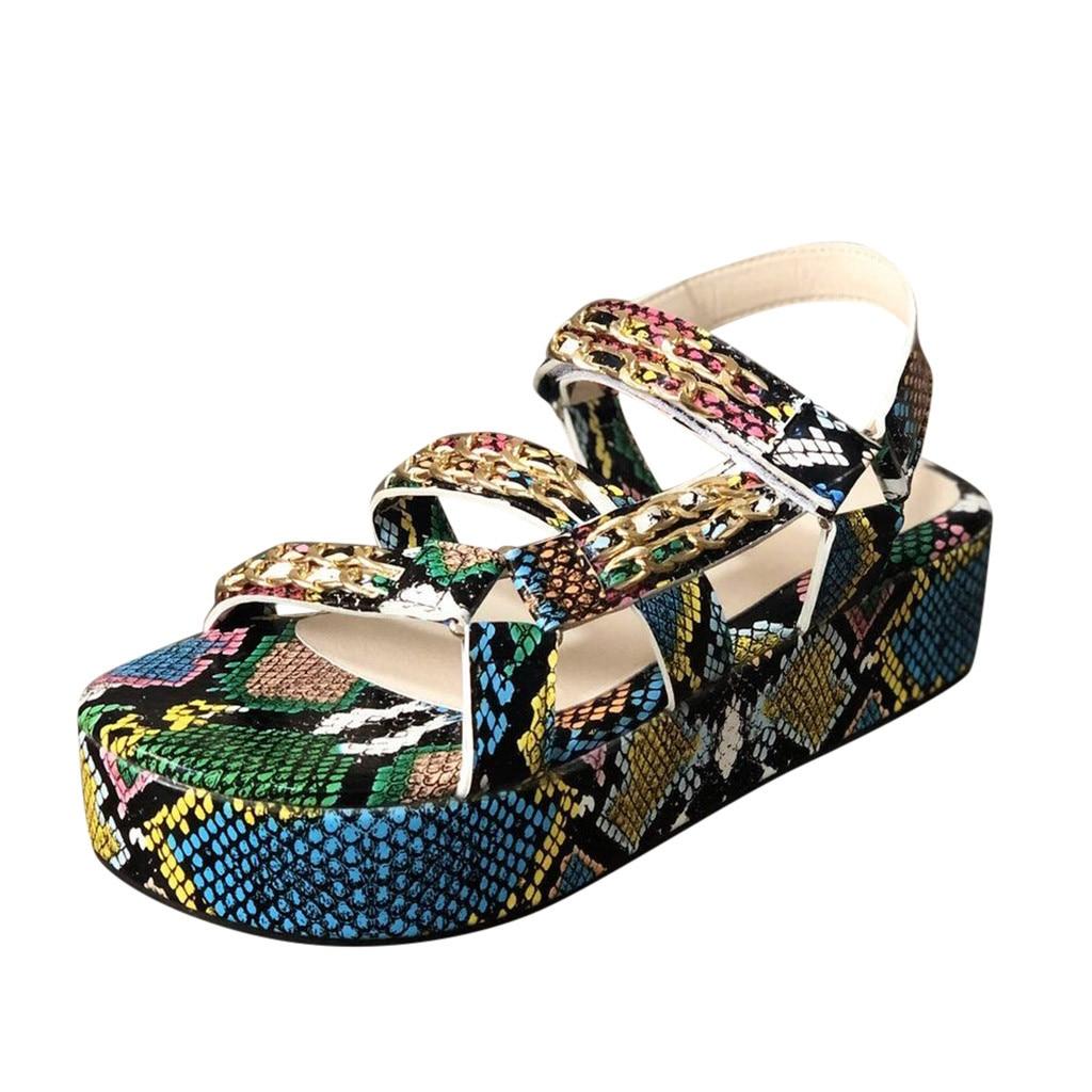 Sandalias de mujer JAYCOSIN, sandalias sexys de piel de serpiente, zapatos de vestir con plataforma, zapatos de mujer de Patchwork blanco fucsia, sandalias de Punta abierta
