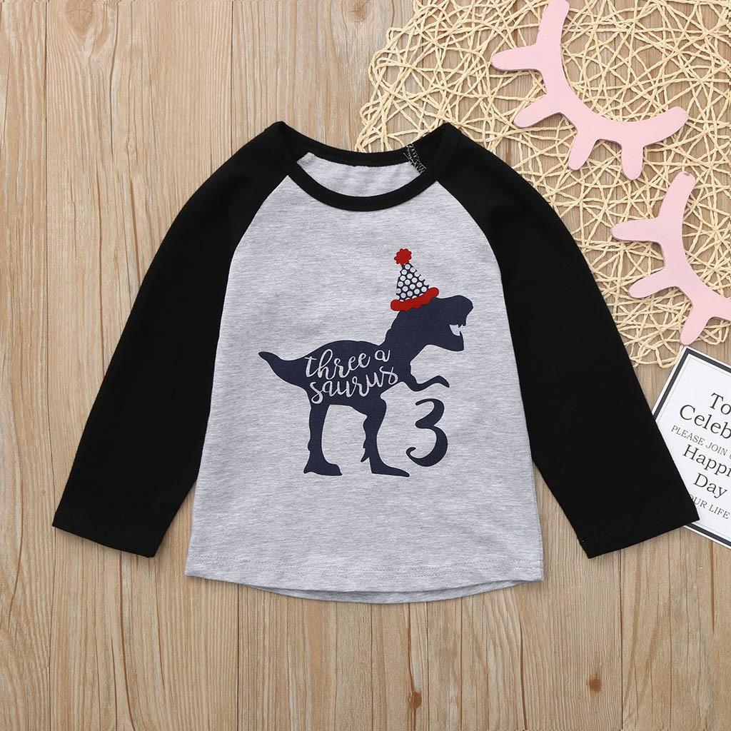 Toddler Kids Baby Boy Girl Animal Print t-shirt Birthday Shirt Cartoon Tee Tops Outfits Patchwork Cute baby Boy long sleeve tops