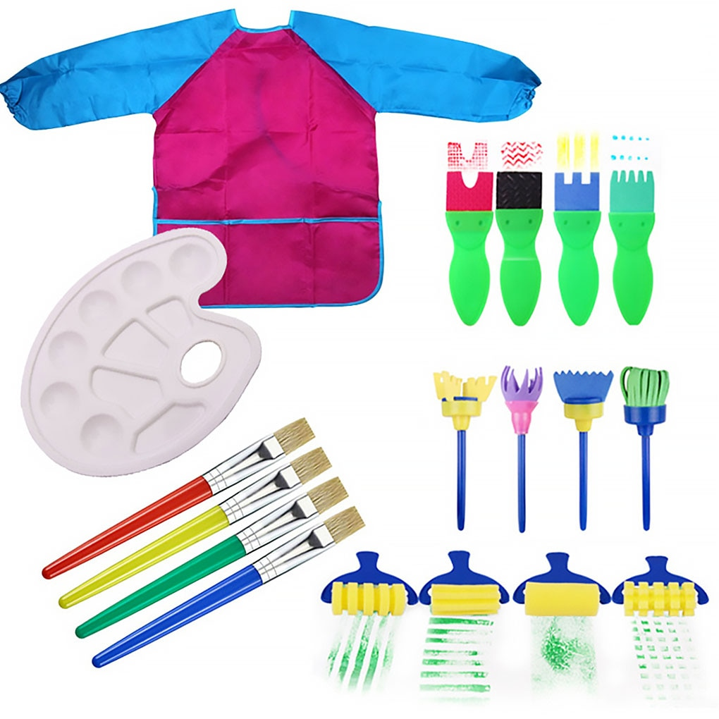 Kids Painting Set Painting Apron Palette Brushes Roller Brushes Children DIY Drawing Doodling Kit