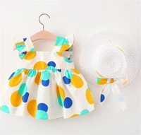 baby flying sleeve dress with straw hat bow decoration polka dot pattern sweet style summer clothing
