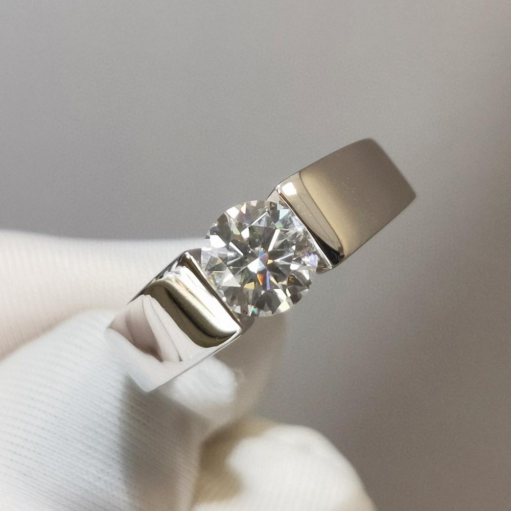 18k ouro branco anel d cor 1 quilates simples moissanite masculino anel de embalagem seiko grosso ouro inlay aniversário presente