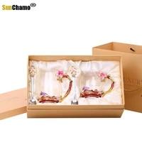 creative enamel glass cup pink lily flower coffee cups handgrip style tea lovers heat resistant water cup glasses drinkware