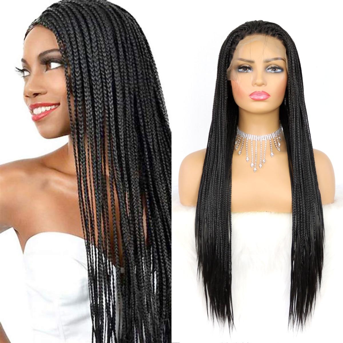 Black Braids Synthetic Lace Front Wigs For Women Heat Resistant Fiber Hair