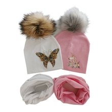 Baby Hats set for Girls butterfly unicorn Print Hat Baby Boy Hat kintted Cotton Children Scarf Collar bibs Caps Kids Beanie Hats