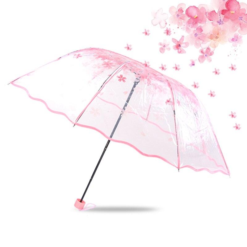 Paraguas plegable de 3 pliegues, paraguas transparente para lluvia, paraguas transparente con forma de flor de cerezo, hongo Apolo Sakura para mujer, a prueba de viento, mini UV Sunny