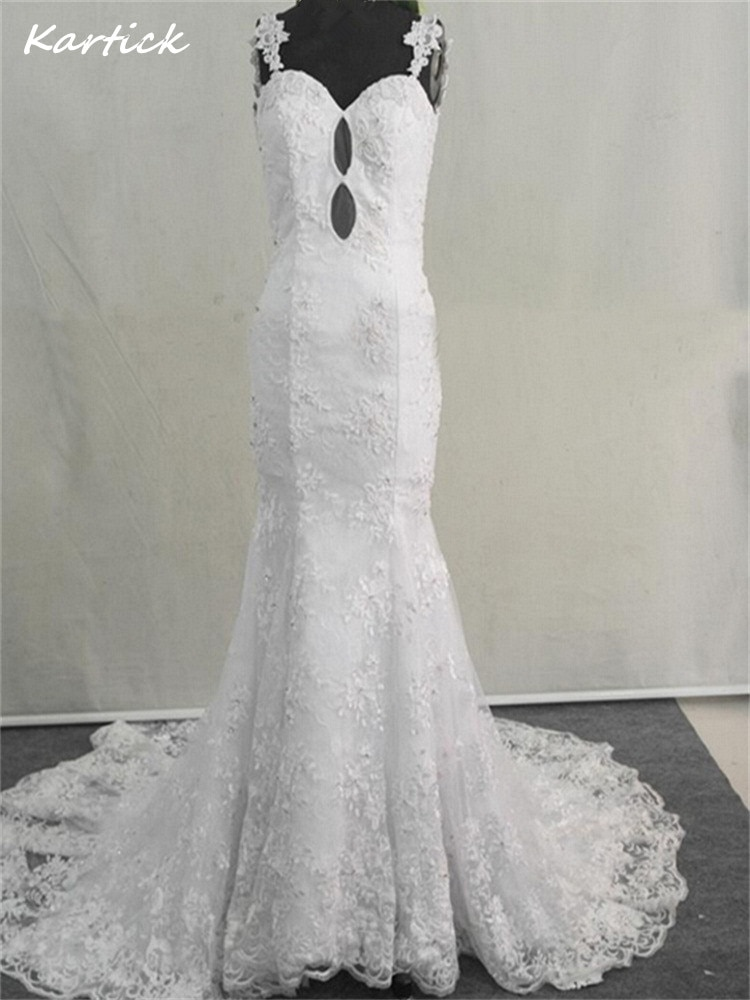 Review Brand New Wedding Dresses with Train White/Ivory Sexy Backless Princess Formal Dress Stock Glamorous Mermaid Lace Bridal Gown