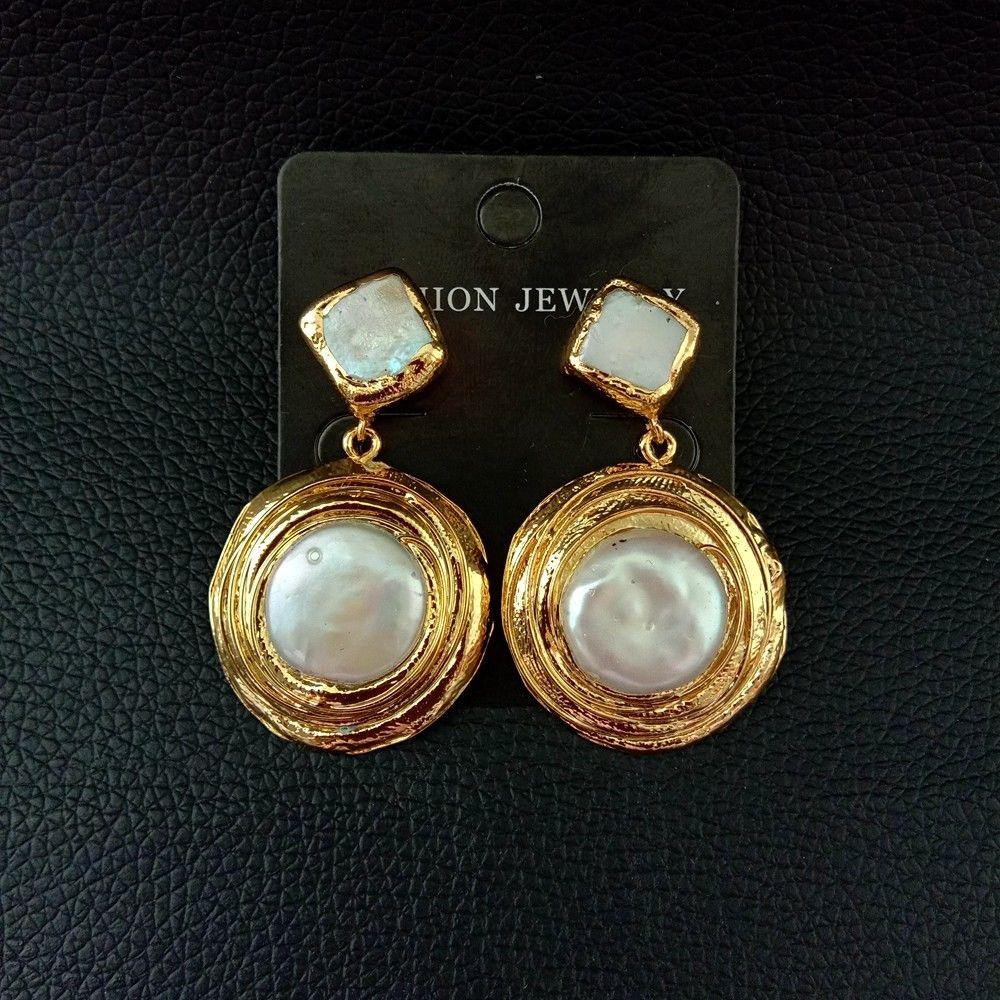 Moneda blanca Keshi perla dorada plateada poste pendientes
