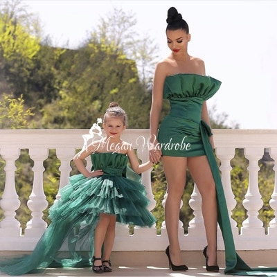 2021 Newest Jade Green Prom Gowns For Mommy & Me Satin Tiered Ruffled Kids Dress Strapless Mini Length Short Dresses Women