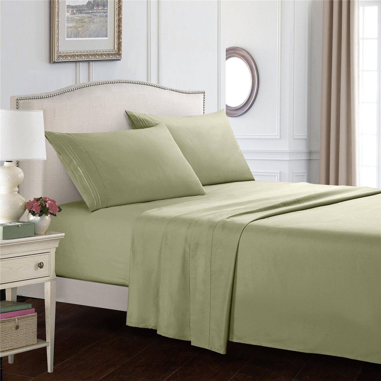 طقم ملاءة سرير مطرزة ، طقم سرير كوين ، لون سادة ، 4 قطع