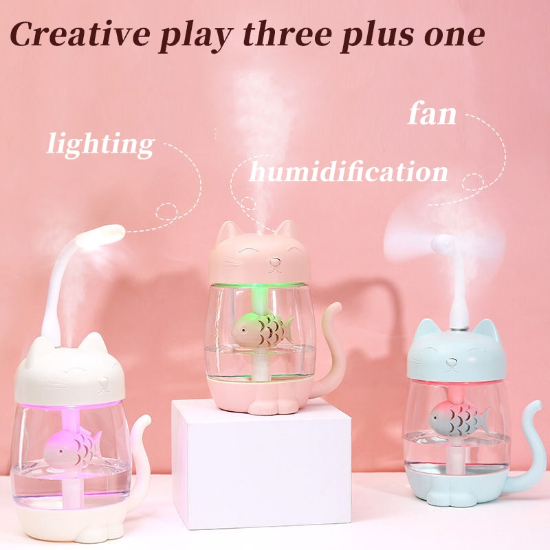 Air humidifier sprayer 350ML scented essential oil diffuser Cat humidifier ultrasonic color night light office home