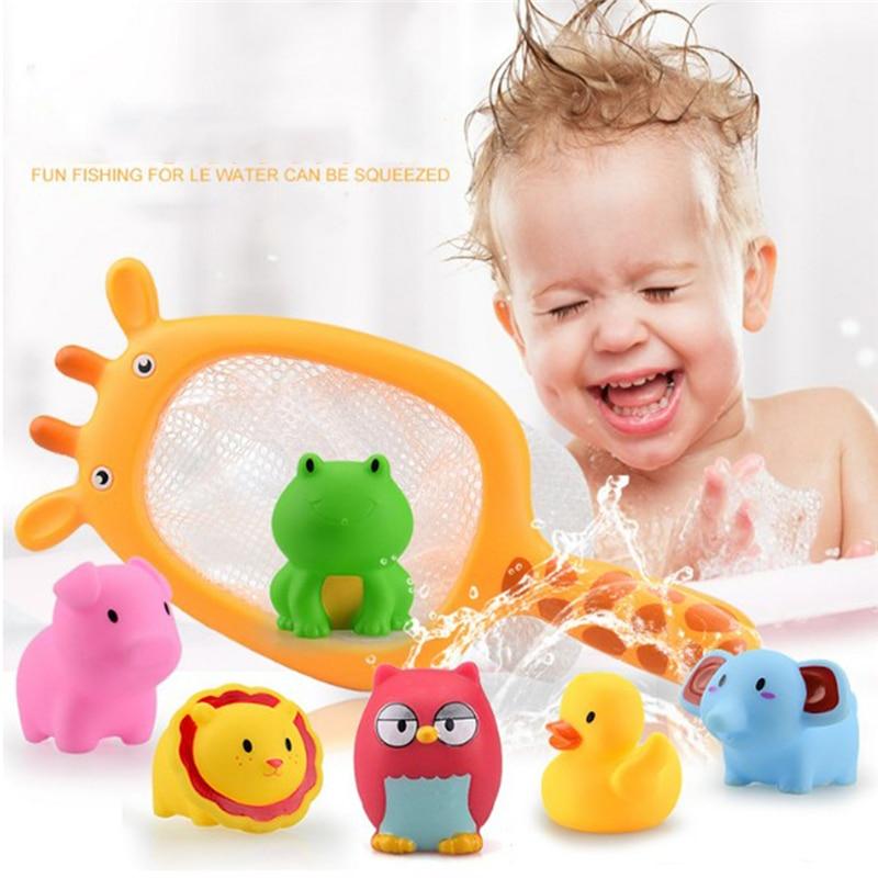 7 unids/set Red de juguetes de pesca bolsa de recogida de pato y pez de juguete para niños clases de natación juego de agua de verano muñeca de baño con rociador de agua juguetes de baño