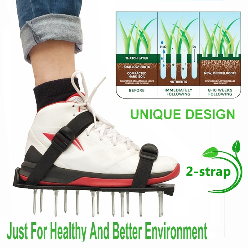 1 Pair Nail Shoes Grass Spiked Gardening Nail Revitalizing Lawn Aerator Sandals Scarifier Cultivator Garden Loose Soil Shoes