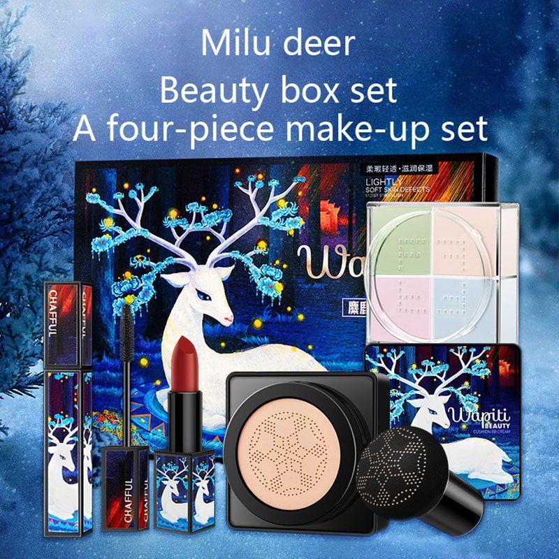 Juego de maquillaje de alce, lápiz labial, máscara de pestañas, crema BB, pequeño Seta, cojín de aire, Kit cosmético, Venta caliente Q1