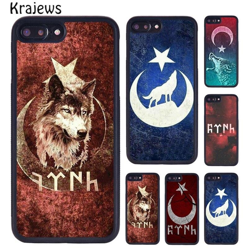 Funda de teléfono de pavo turco con bandera de lobo para iPhone 5 6 S 7 8 Plus 11 Pro X XR XS Max Samsung Galaxy S6 S7 S8 S9 S10 PLUS