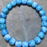 genuine natural blue larimar gemstone barel beads bracelet bangle 8 5mm water pattern larimar women aaaaaa