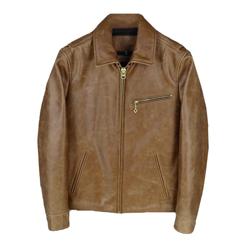 2020 Vintage Brown Men 1930S Bikers Jacket Plus Size XXXXL Genuine Cowhide American Style Autumn Slim Fit Leather Coat