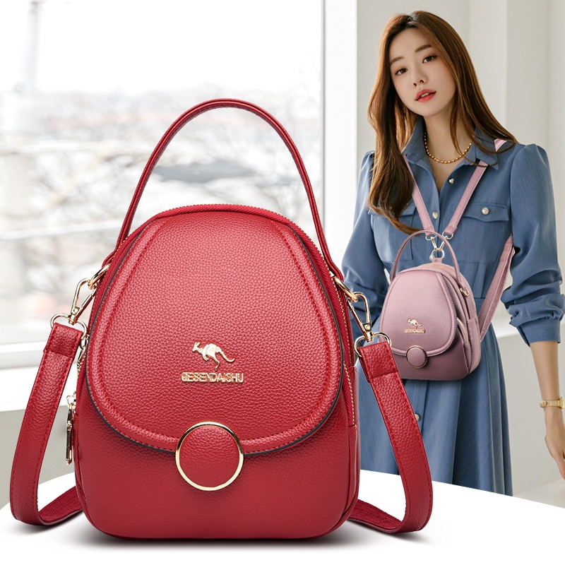 Marca de Luxo Canguru Mini Mochila Feminina Designer Couro Alta Qualidade Bolsas Crossbody 2021 Pequena Bonito Volta Pacote Kawaii