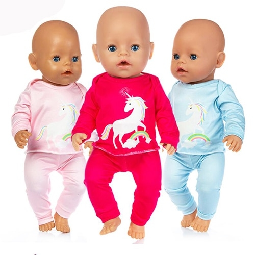 Baby New Born Fit 17 inch 43cm Doll Clothes Accessories Cute Pony Suit For Baby Birthday Gift