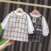 bear leader toddler girls plaid princess costumes fashion newborn white tops and dress 2pcs infant party elegant clothing 0 2y