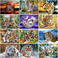 diy tiger 5d diamond painting full square drill animal diamond embroidery cross stitch mosaic kits wall art home decor