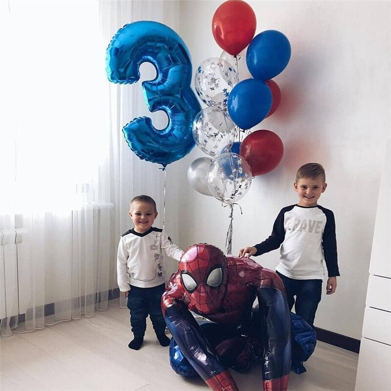 12Pcs/Set 3D Super Hero Spider Iron Man Foil Balloons 30inch Number Globos Children Birthday Party Decorations Kids Toys Gift